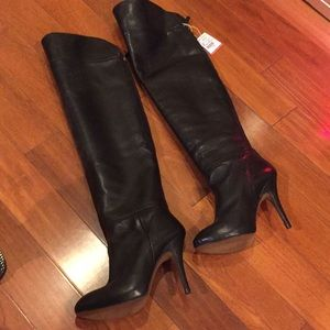 Zara over the knee black leather boots size 8